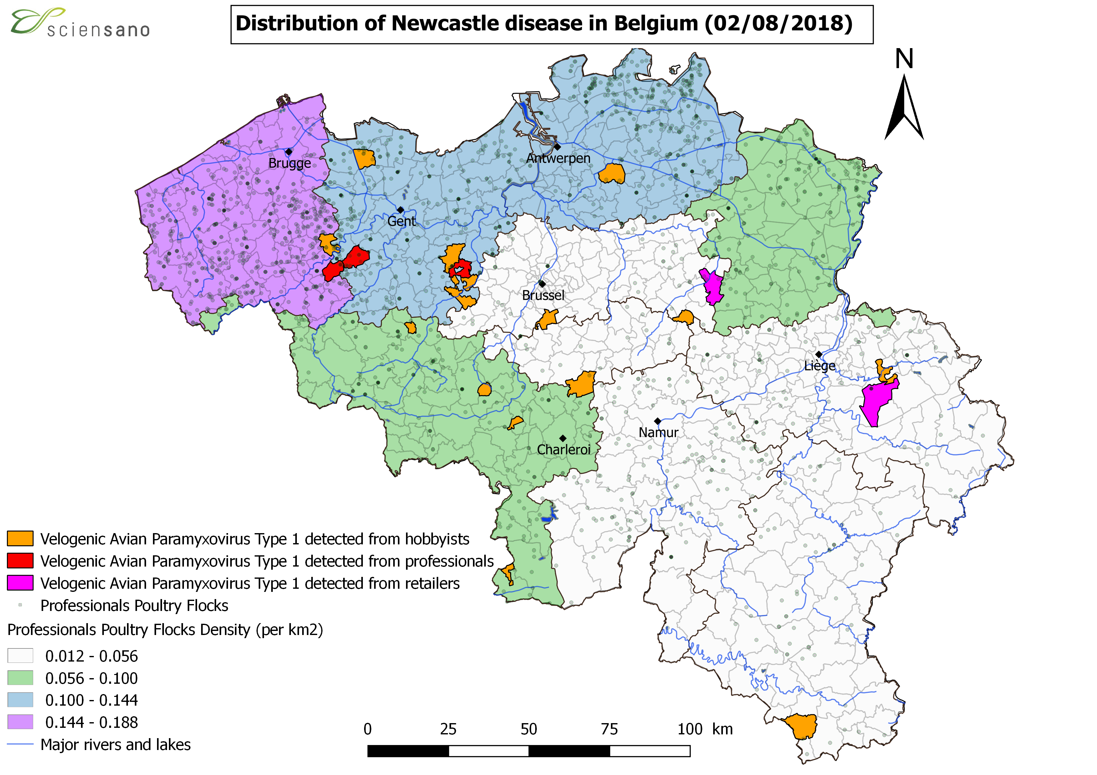 Distribution of Newcastle disease in Belgium (20/07/2018)